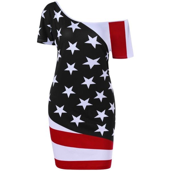 Patriotic Skew Neck Bodycon Plus Size American Flag  Dress ($16) ❤ liked on Polyvore featuring dresses, women plus size dresses, bodycon dress, plus size day dresses, american flag print dress and body con dress