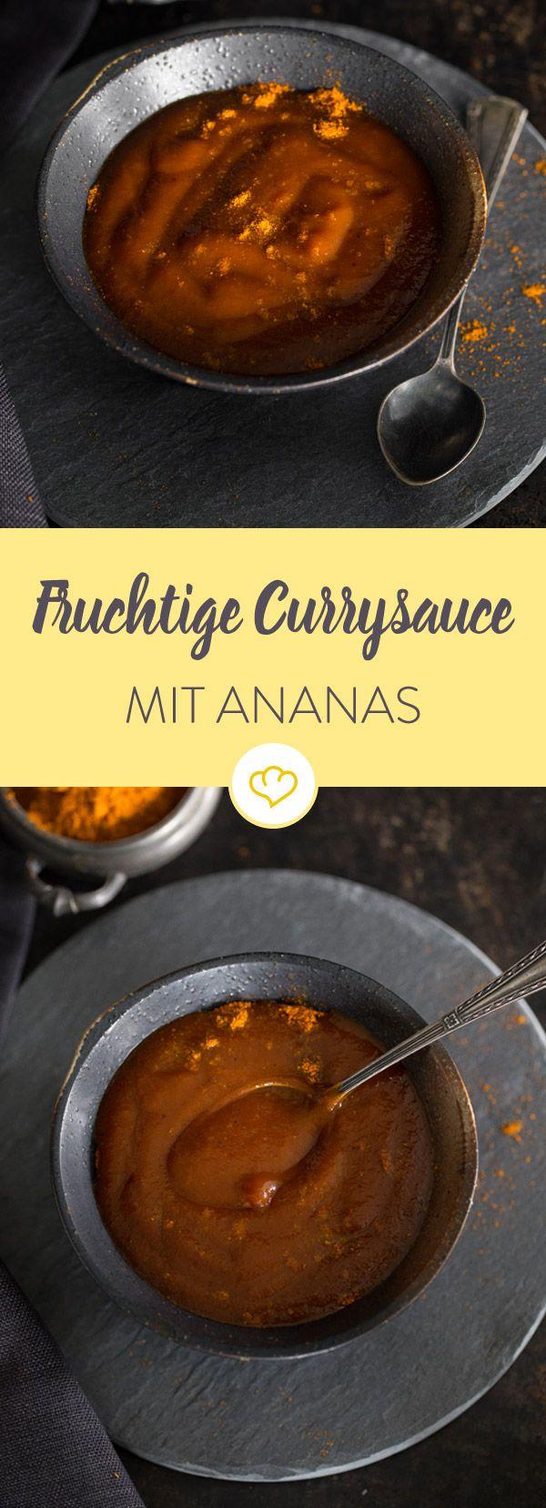 Wenn du Currywurst liebst, brauchst du auch eine gute Currysauce. Diese unwiderstehliche, fruchtige Sauce kochst du mit frischer Ananas und Preiselbeergelee. Entdeckt von Vegalife Rocks: www.vegaliferocks.de ✨ I Fleischlos glücklich, fit & Gesund✨ I Follow me for more vegan inspiration @vegaliferocks #vegan #veganerezepte