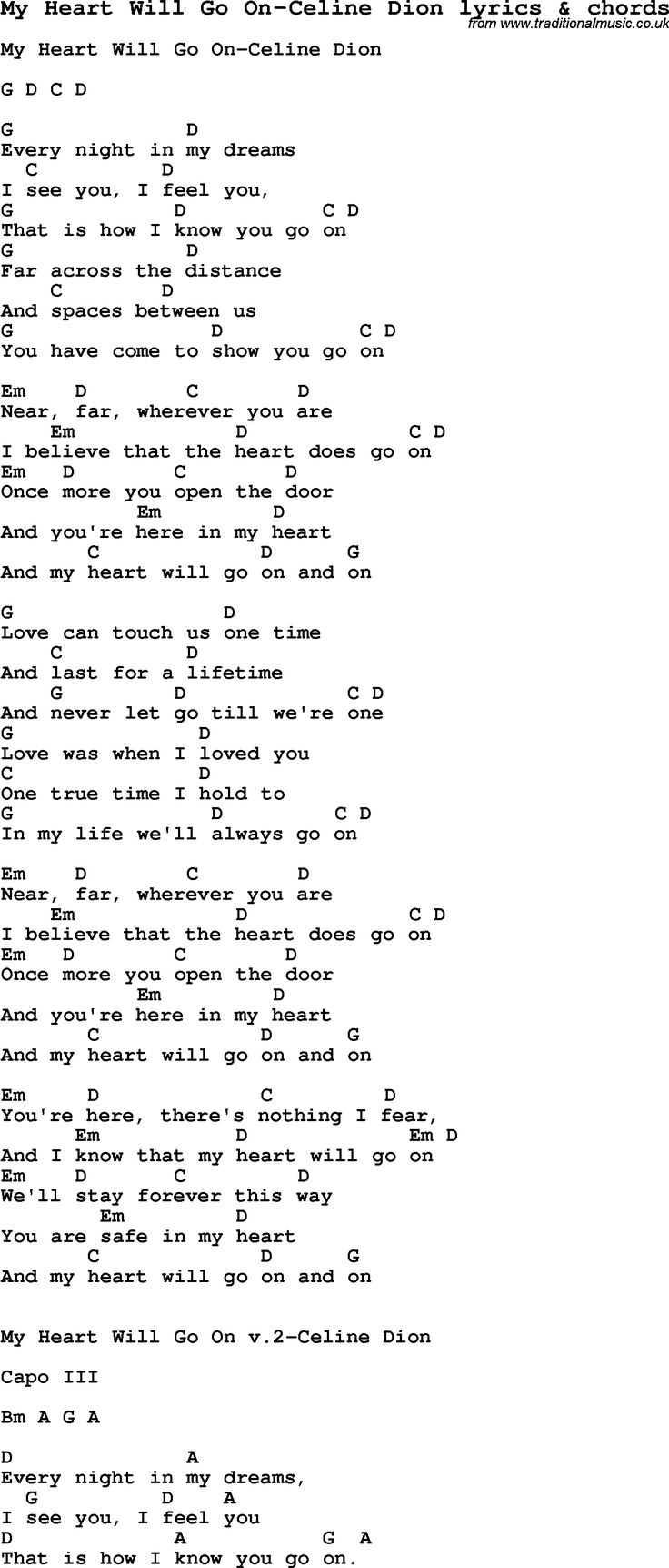 Love Song Lyrics for My Heart Will Go On Celine Dion with chords ...