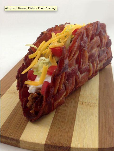Woven Bacon Taco Shells. Make a breakfast taco. Scrambled Eggs, cheese, potatoes - YUM
