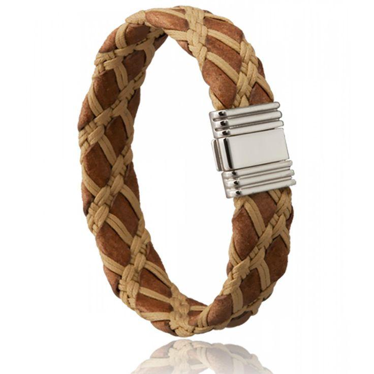 Bracelet homme cuir beige sequoia - Di-Angelo