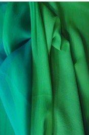 chiffon,Samyakk,Peacock Green With Pastel  Green Plain Chiffon - FB802