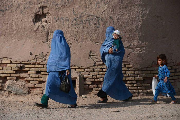 Two women wearing burkas in Afghanistan
