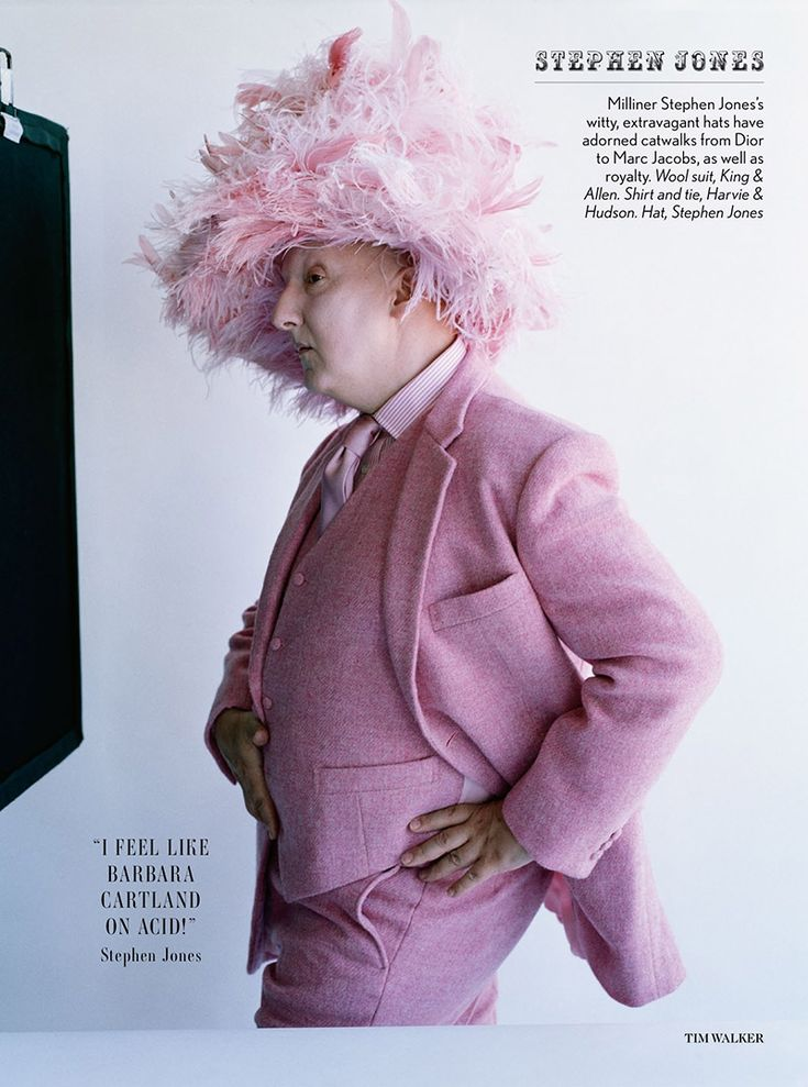 "Made in Britain by Tim Walker for Vogue UK December 2013 - here Stephen Jones in wool suit bt King & Allen.  ""I feel like Barbara Cartland on acid!"" - Stephen Jones"