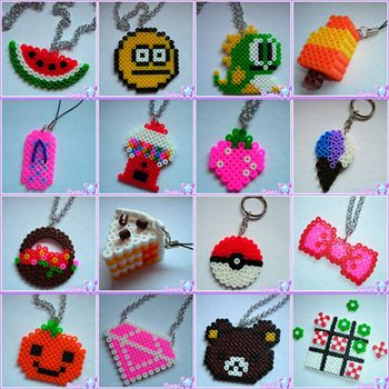 Perler designs: watermelon, smiley, puzzle bobble, ice cream, slipper, gum ball machine, strawberry, flower basket, 3D cake, poke ball, bow, pumpkin, diamond, rilakkuma, tic tac toe.