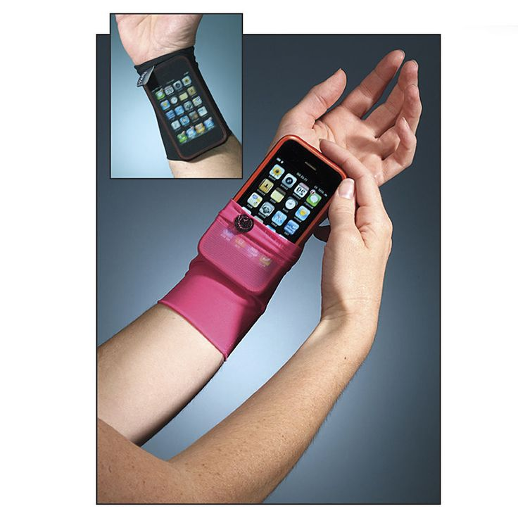 Wrist Cell Phone Holder ($12.99) -Keep Your Cell Phone at Your Fingertips! Slip this comfortable, stretchy band onto your wrist and insert your phone. See-through mesh fabric lets you operate your phone without taking it out. Lycra®/spandex. Machine wash. Please specify Black or Pink. One size fits most wrists. 2 or more $11.99 each