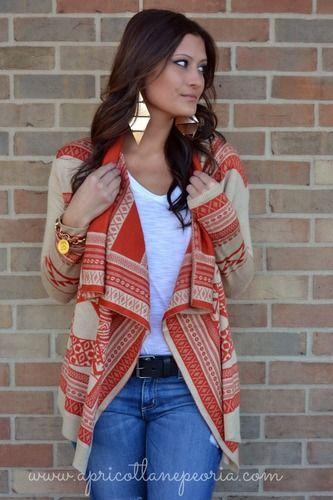 Tangerine & Tan Tribal Sweater, $49.00