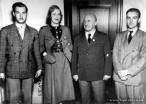 Unity Mitford in Bavarian costume with German district leader, Julius Streicher (centre right) at Nuremberg, Germany. 6th June 1938