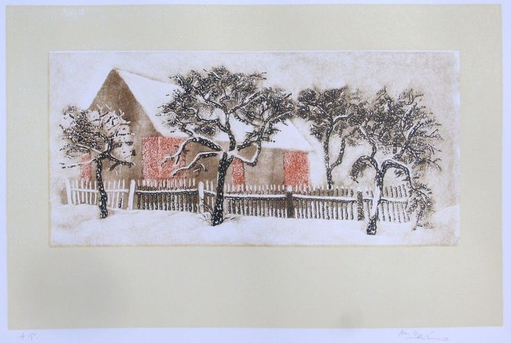 Milos Slama - Barn in Winter - (linocut)
