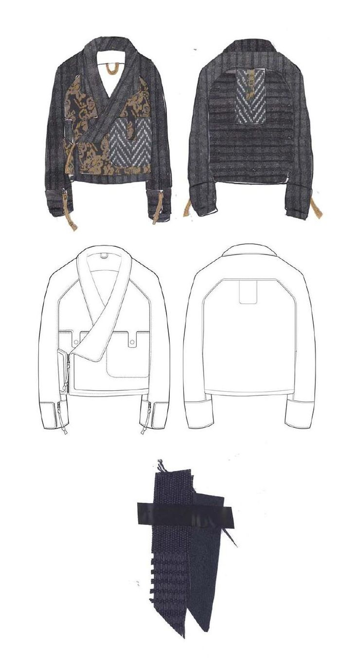 Fashion Sketchbook - jacket drawings & textile ideas; fashion portfolio layout // Lori Stayte
