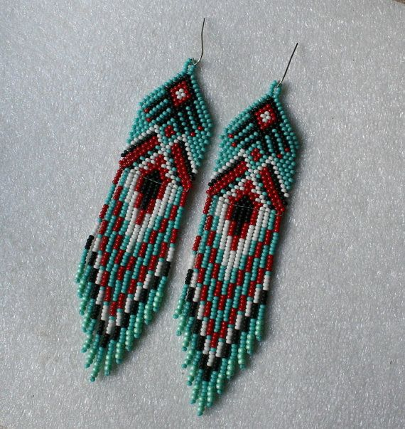 Beautiful beaded dangle peyote earrings with fringe.Native American style, Boho style. Earrings made from Czech beads. Surgical Steel ear wires.