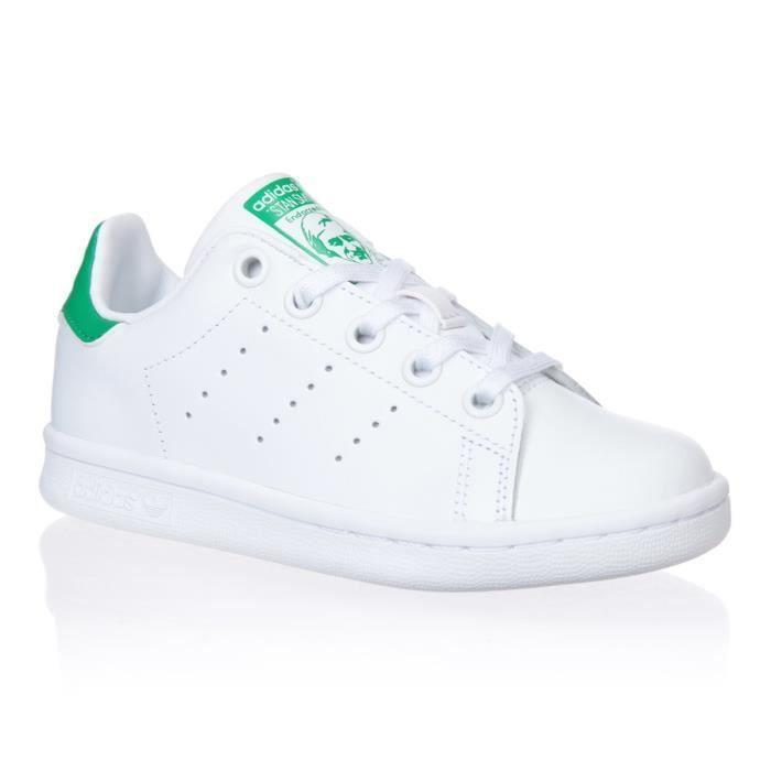 ADIDAS ORIGINALS Baskets Stan Smith - Junior - Blanc et vert ...