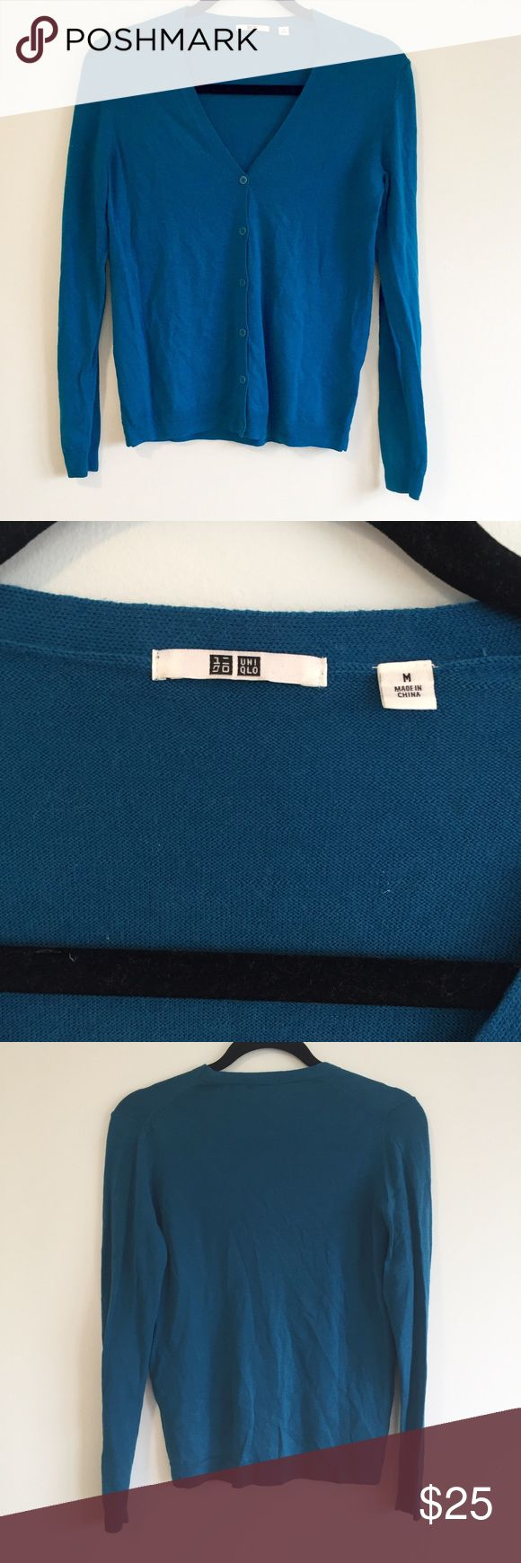 """NWOT - Uniqlo Turquoise Cardigan Brand new and very soft turquoise blue green cardigan. Measures 19"""" bust, 22.5"""" length and 24"""" sleeves. Uniqlo Sweaters Cardigans"""