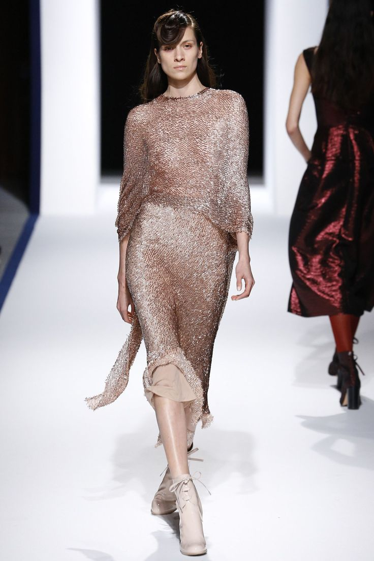 The metallic dress by the Munich based brand on the catwalk.