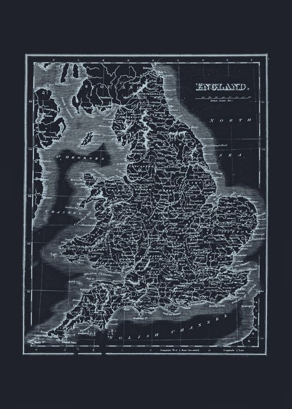 55 best blueprint maps images on pinterest antique maps old minimalist england map blueprint map of england vintage map office wall art professional reproduction malvernweather Images