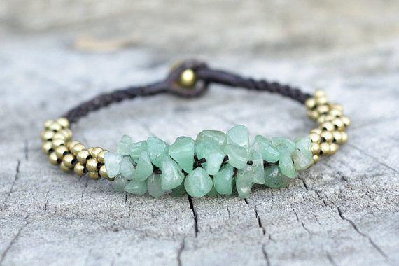 Jade Stone Brass Bracelet by brasslady on Etsy