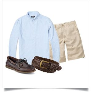 Polyvore: Light blue OCBD, stone shorts, brown briaded belt, amaretto Sperry A/O 2.