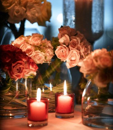 Romantic flowers and candlelight
