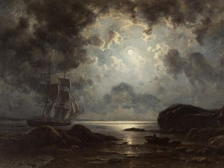 Moonlight over the Coast, 1869 by Knud Baade