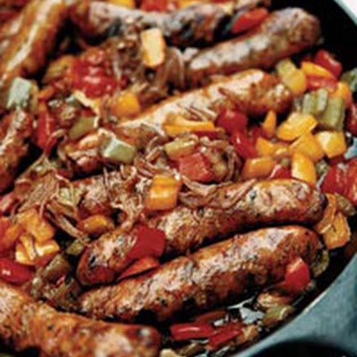 Spicy Stewed Sausages with Three Peppers...using healthy lean turkey sausage! Yumm!!