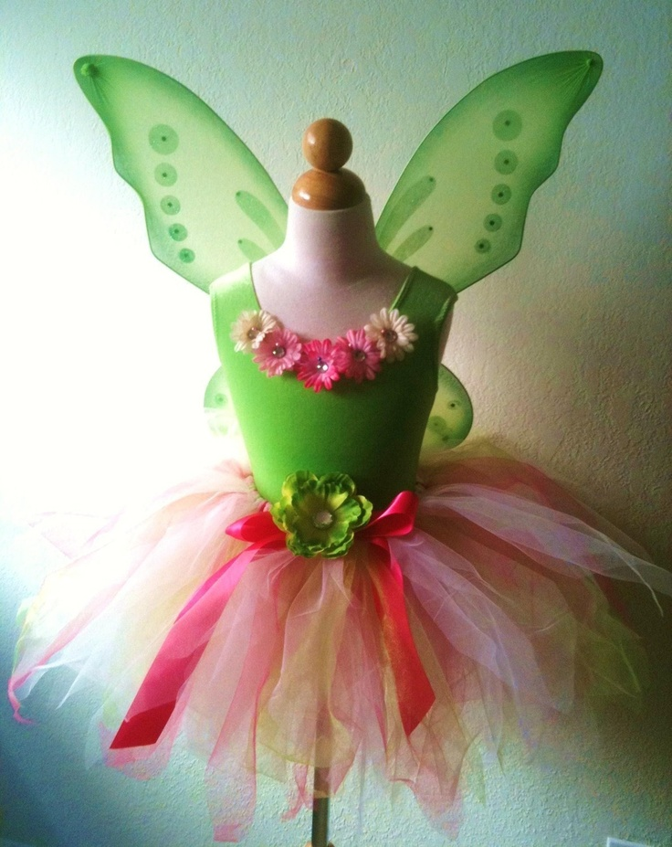 Girl's Lime Green and Pink Fairy Costume Set with Matching Leotard, Wand and Hair Clip. $50.00, via Etsy.