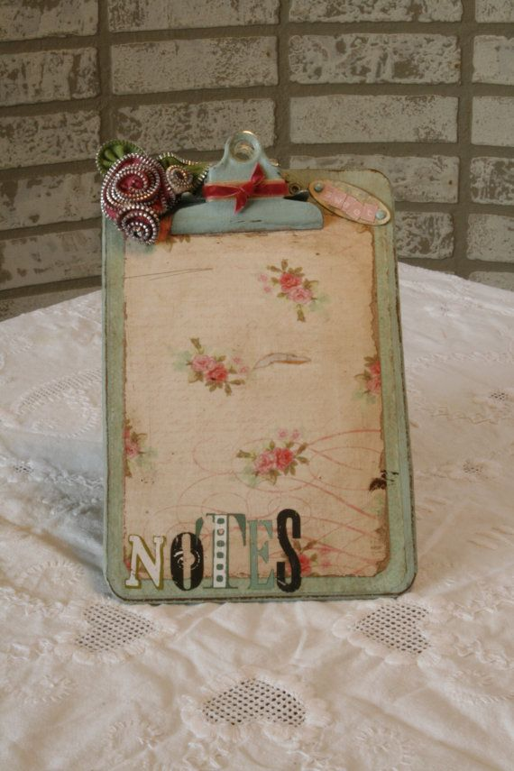 Altered Floral mini Clipboard by TinShedDesigns on Etsy, $9.95