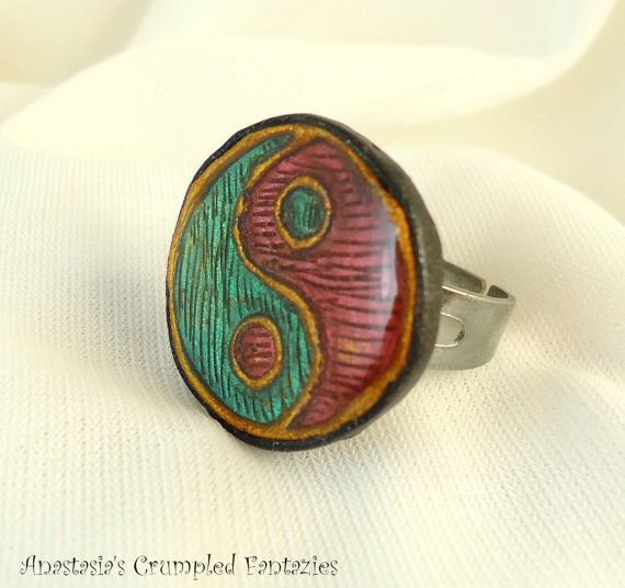 Yin yang green red gold polymer clay ring by CrumpledFantazies