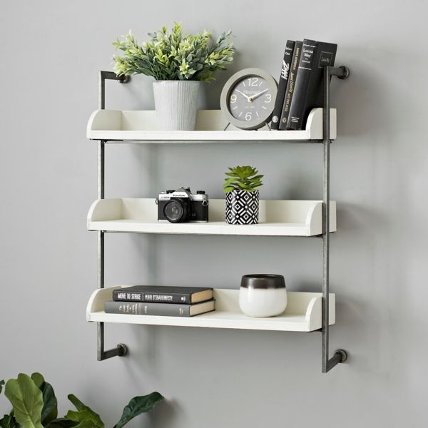 White 3 Tier Wall Shelf With Chrome Metal Rails Kirklands Wall Shelves Cube Wall Shelf Wood Wall Shelf