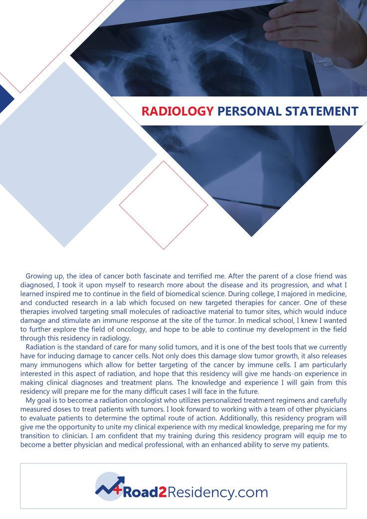 personal statement for radiology will get easier to write after you see this personal statement for radiology residency sample. Get more amazing samples here http://www.road2residency.com/samples/