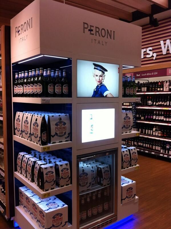 Supermarket Design | Promotional Ends | Promo End Fixture | Peroni display in Tesco