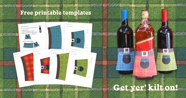 Free printable templates to make your own table decorations for Burns Night! #burns https://printablepaperproducts.com/bottle-kilt-tartan-wine-whisky/