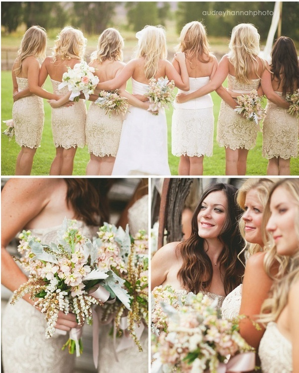 strapless tan lace bridesmaid dresses, love these colors and the lace; would probably do something other than strapless