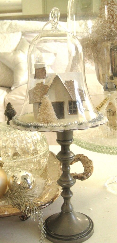 I think I could put a cute little manger scene inside.: Belle Jars, Putz House, Glitter Houses, Bottle Brushes Trees In Jars, Bottle Brushes Trees In Bottle, Jars Ideas, Christmas Display, Cloche Display, Christmas Houses