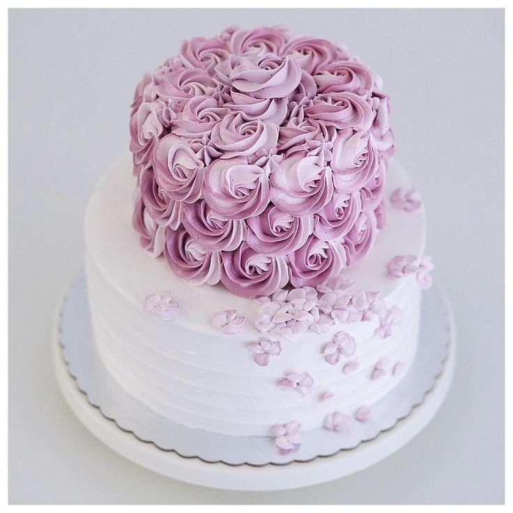 Two tiered 2D rosette and hydrangea buttercream cake
