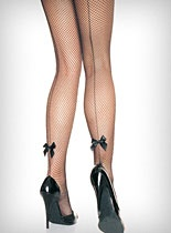 Back Seam Bow Fishnet Pantyhose at PLASTICLAND