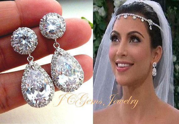 Boucles doreilles mariées Kim Kardashian inspiré grosse poire