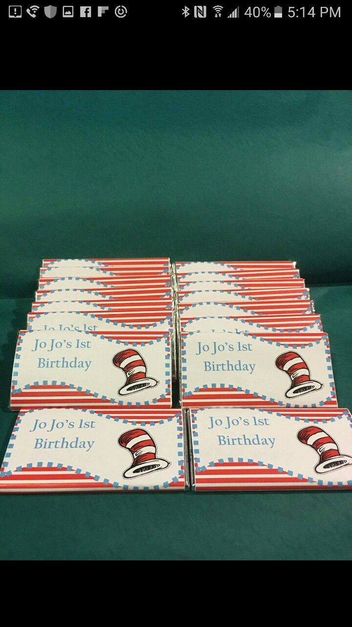 Dr. Seuss, Cat in the Hat chocolate candy labels.