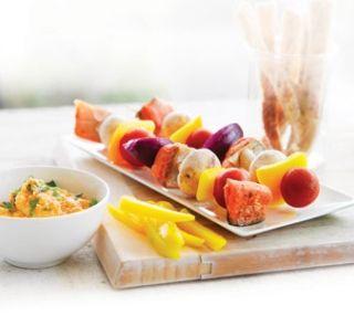 Salmon skewers mezze   Healthy Food Guide