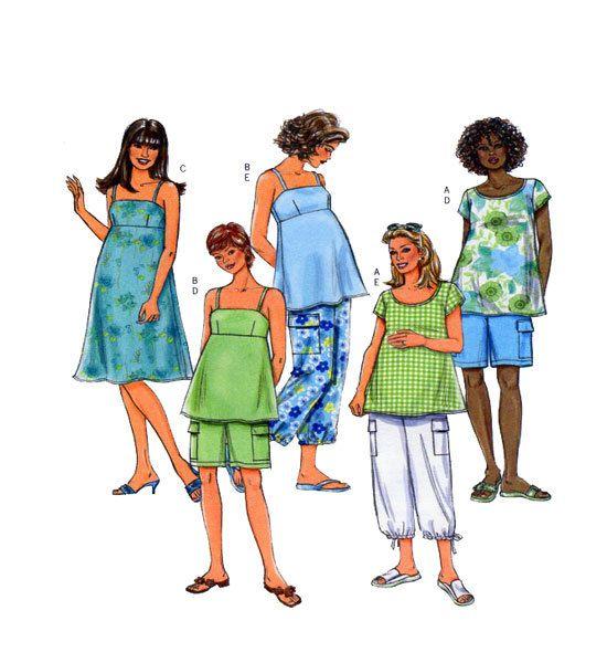 Pattern Butterick 4527 Fast & Easy Summer Dress, Sun Top, Capris/Clam ...