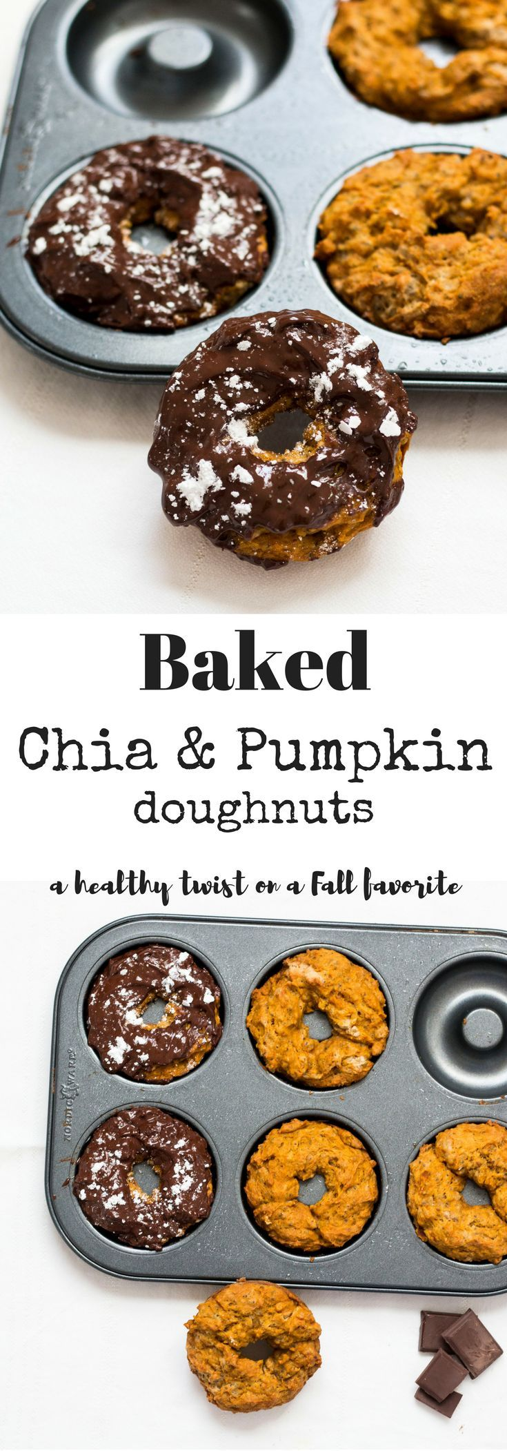 Baked Chia Pumpkin Pie Donuts. The perfect healthy snack for Fall. Vegan and…