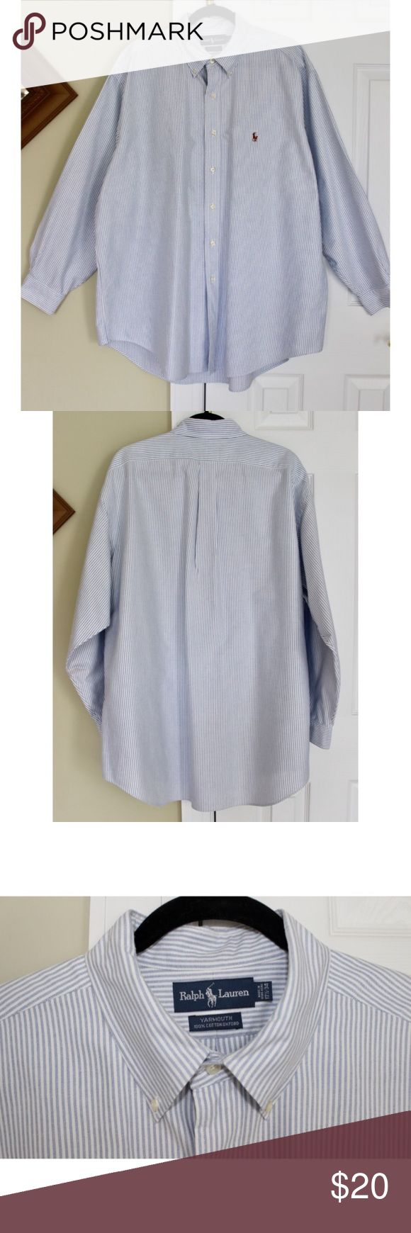 🆕Ralph Lauren Men's Button Down Seersucker Shirt This pinstripe Ralph Lauren Button Down Shirt is in great quality shirt!  It's very professional and stylish. It has light blue and white vertical stripes and has the polo man logo on the chest. There was a stain on the right side of the shirt next to the 2nd and 3rd Button from the bottom.  I've treated the stain and it is extremely faint, to the point where even my professional camera and eyes cannot pick it up without it being in direct…