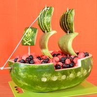 A watermelon carved to look like a pirate ship makes a charming and refreshing addition to the spread for a summertime cookout or pirate-themed birthday party. This project requires an oblong watermelon to achieve the elongated shape of a pirate ship, although you can choose from multiple pirate ship shape options. Use the pirate ship watermelon as...