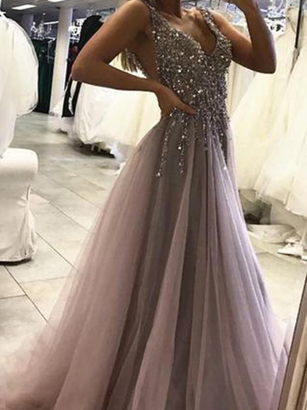Amazing Sexy Backless Grey V Neck Beaded Long Custom Evening Prom Dresses, 17437 #prom #…