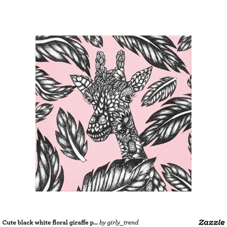 Cute black white floral giraffe pink illustration canvas print