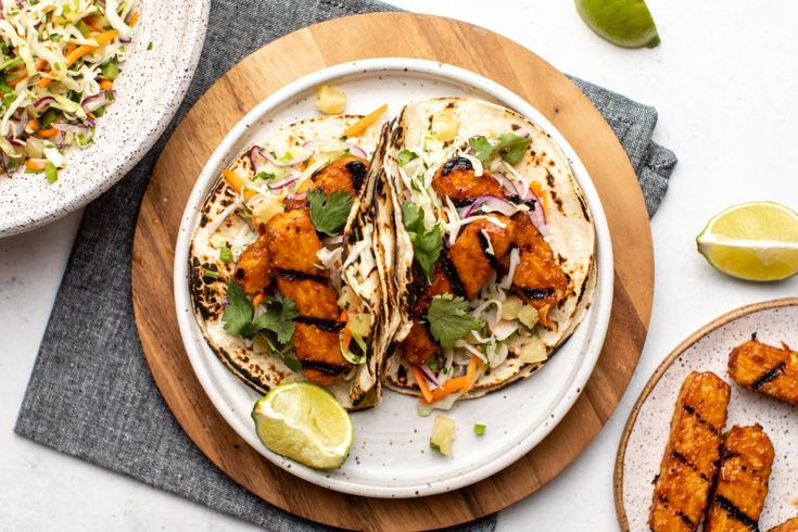 BBQ Tempeh Tacos with Pineapple Coleslaw