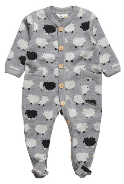 Joha Adorable Grey Sheep Print Thermal Babygrow In Lovely Soft Wool With Wooden