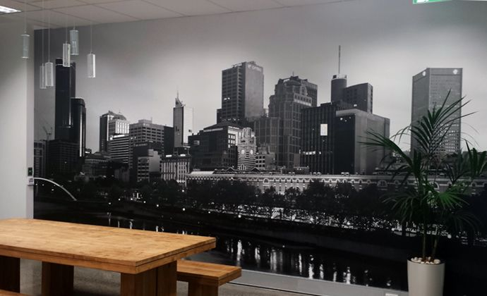 Wall mural of Melbourne's skyline recently installed in Visual Culture's offices in Richmond.