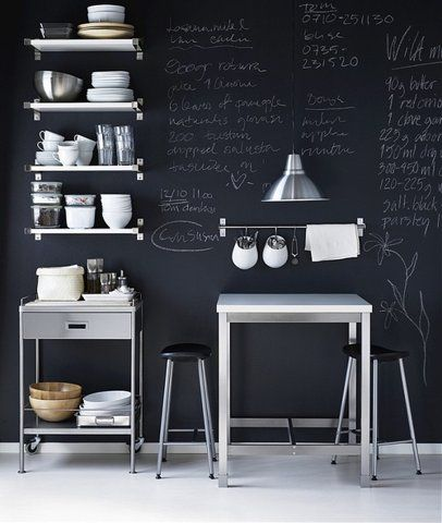 for the kitchen, chalk board wall: Decor, Kitchens, Interior Design, Blackboard Wall, Chalkboards, Ideas, Chalkboard Walls, Chalkboard Paint, Chalk Board