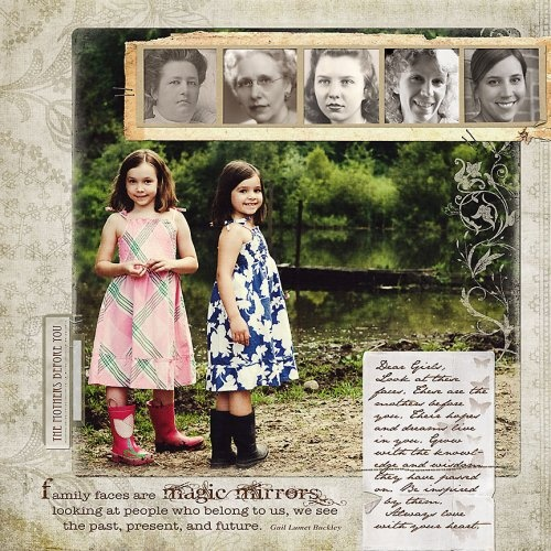 Amazing page by Miki. I love that she paired a current photo with previous generations!