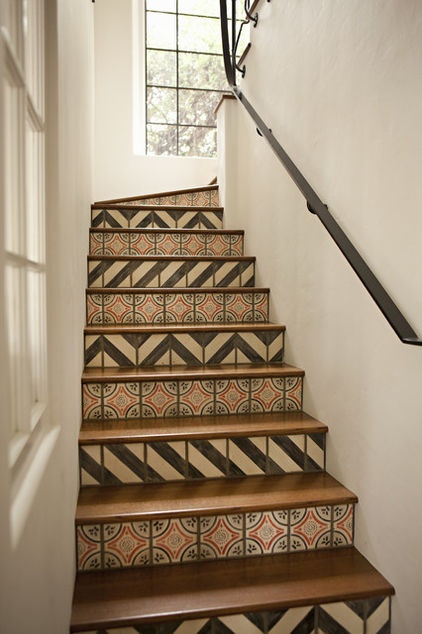 Mediterranean tiled staircase by Tim Barber - love this look.  Something you can create with our minton hollins & co original encaustic floor tiles - available at oscarsinteriors